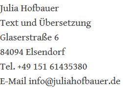 Kontakt zu Julia Hofbauer - Texterin und Übersetzerin